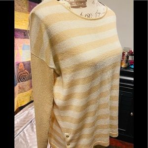 Dana Buchman gold metallic striped light sweater